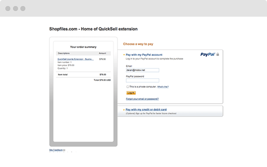 QuickSell payment processing via PayPal, BitCoin and Skrill